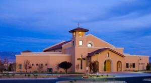 St. Jude Thaddeus Catholic Church in Albuquerque, N.,M., where police say a man stabbed four choir members as they were singing the closing hymns of a Mass on Sunday. (parishesonline.com)
