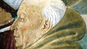 """Detail of restored """"Cycle of Saint Francis of Assisi"""" by Italian Renaissance artist Benozzo Gozzoli, Montefalco, Italy (AP) Read more: http://www.foxnews.com/opinion/2013/05/17/who-is-most-incredible-christian-ever/#ixzz2TrnxYwuh"""