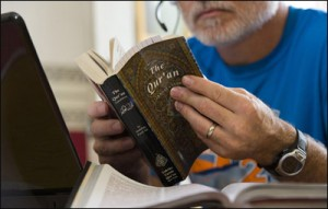PHOTO: Business entrepreneur Paul Hart (name changed) studies the Quran and other Islamic texts in an effort to understand and pray for the Central Asian people. Photo by Paul W. Lee/IMB.
