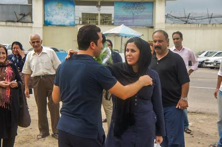 Pastor Youcef Nadarkhani greets his wife Fatemah after his release from prison in September 2012.  Nadarkhani family for World Watch Monitor. Photo Terms of Use