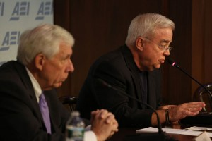 """(Photo: American Enterprise Institute) Rep. Frank Wolf (R-Va.) (L) and Rev. Jim Wallis (R) discuss """"Competing Visions of the Common Good: Rethinking Help for the Poor,"""" at the American Enterprise Institute, Washington, D.C., May 23, 2013."""