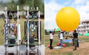 Students prepare the balloon that will be used to conduct a test launch of a Coke-can sized satellite, left