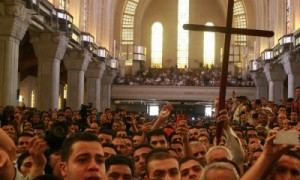 (Photo: Morning Star News) Mourners at St. Mark's Coptic Orthodox Cathedral for funeral of four slain Christians.