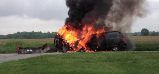Boy, 13, saves sisters from burning van