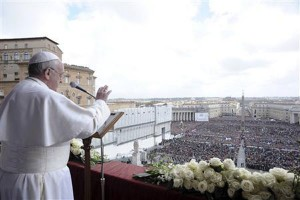 (Photo: REUTERS/Stefano Rellandini) Pope Francis speaks during his 'Urbi et Orbi' (To the City and the World) address from a balcony in St. Peter's Square at the Vatican March 31, 2013.