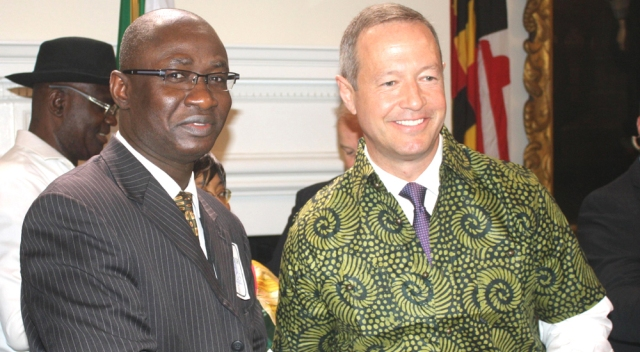 File Photo: Governor O'Malley (R) with AMIP News Head, Nnoma-Addison at the Governor's Reception Room State House Photo: AMIP News
