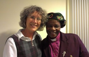 Bishop Ellinah (r) with the Anglican Communion Office's Women's Desk Officer and Anglican Communion Networks Co-ordinator the Revd Terrie Robinson Photo Credit ACNS