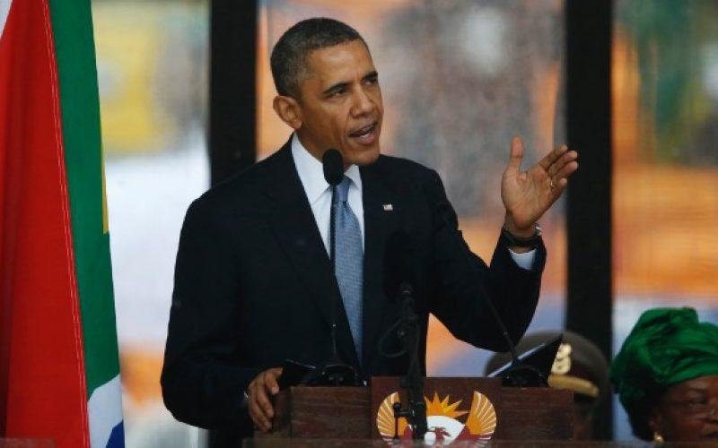 Obama praises 'giant of history' at Mandela memorial
