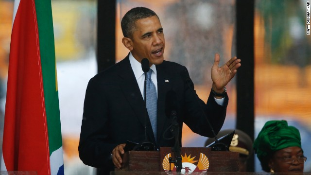 President Barack Obama addresses the crowd during the memorial service.