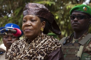 FILE - Interim President of the Central African Republic Catherine Samba-Panza gives a speech in Bangui, Feb. 1, 2014.