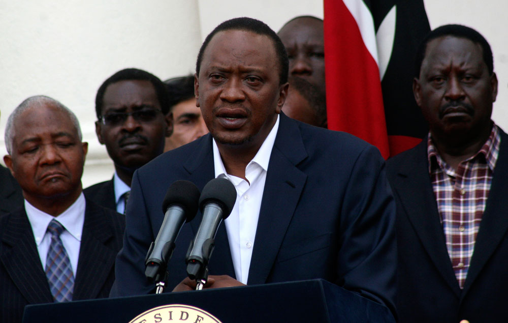 (Photo: Reuters/Stringer)Kenya's President Uhuru Kenyatta addresses the nation on the Westgate shopping mall attack in the capital Nairobi September 22, 2013. Islamist militants were holed up with hostages on Sunday at the shopping mall in Nairobi, where at least 59 people have been killed in an attack by the al Shabaab group that opposes Kenya's participation in a peacekeeping mission in neighbouring Somalia. A volley of gunfire lasting about 30 seconds interrupted a stalemate of several hours, a Reuters witness said, speaking from near the Westgate shopping centre that has several Israeli-owned outlets and is frequented by expatriates and Kenyans.