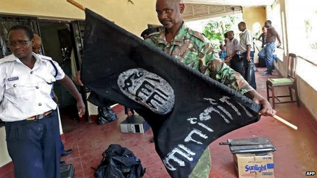 Police say they recovered this flag, associated with Islamist militants, in the raids