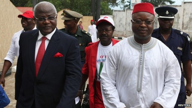 President Ernest Bai Koroma (L) had a frosty relationship with his sacked deputy, Samuel Sam-Sumana (R)