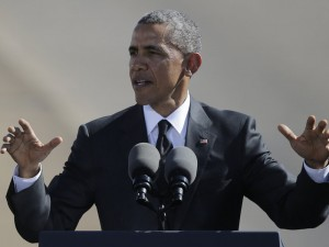 President Obama speaks near the Edmund Pettus Bridge in Selma, Ala., on Saturday, to mark the 50th anniversary of the