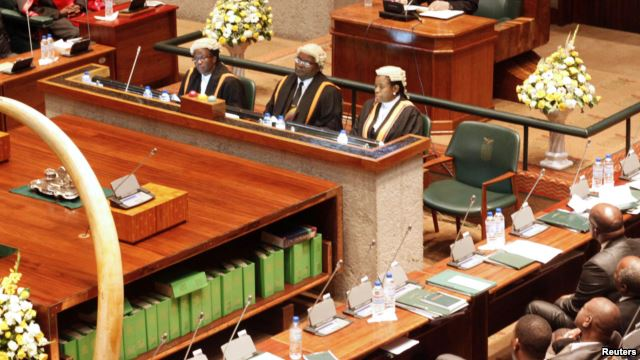The presidium of the Zambian parliament in Lusaka is seen in a Feb. 24, 2012, photo