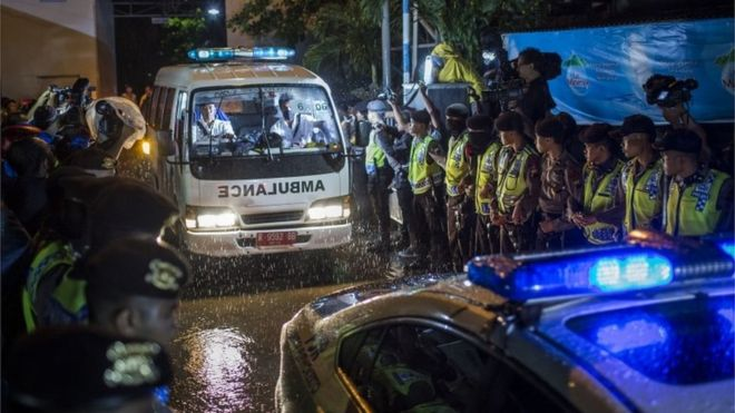The bodies of the executed prisoners were brought back the mainland amid a tight police presence