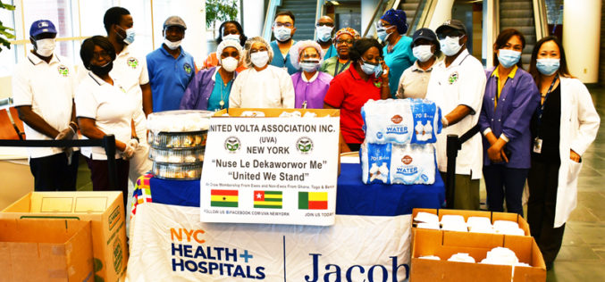 United Volta Association in New York donates food to Jacobi Medical Center in the Bronx.