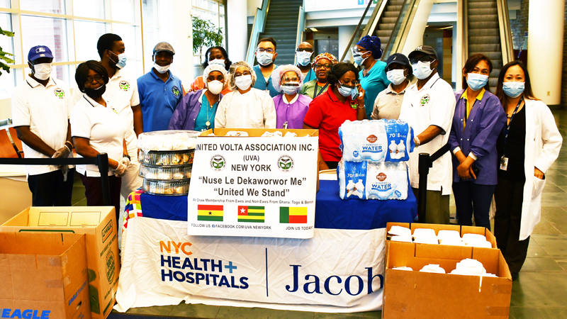 United Volta Association(UVA) in New York donates food to Jacobi Medical Center in the Bronx